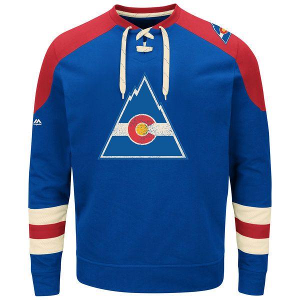 CO Rockies Majestic Vintage Centre Lace-Up Sweatshirt - Royal - $64.99