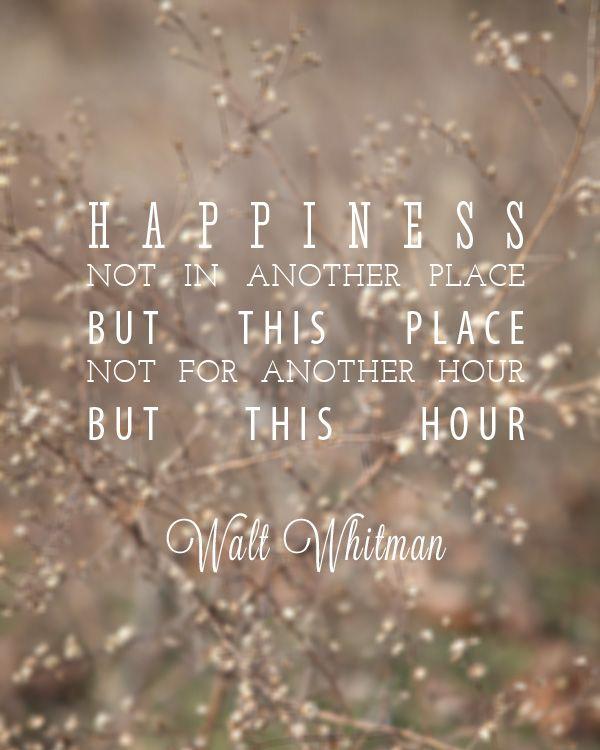 I love this quote by Walt Whitman. It reminds us to cultivate contentment....