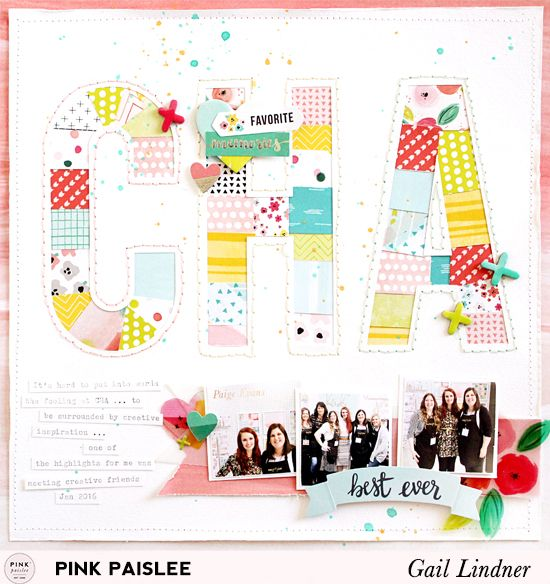I love the quilted look letters.  She cut them from the white cardstock, but then used the letter pieces to adhere the quilty paper to.