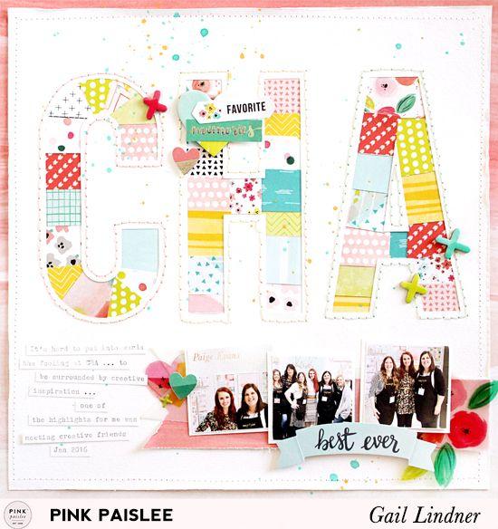 CHA Layout @gail_lindner @pinkpaislee #pinkpaislee #fancyfree #DIY #scrapbooking #layout #titles