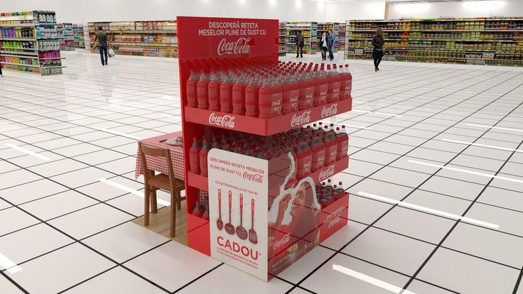 """Tip proiect: Simulare 3D, Design 3D Client: Profi Print Timp executie: 6ore Detalii: design si simulare 3D a unei teatralizari, facuta pentru campania Coca Cola """"Taste the feeling""""."""