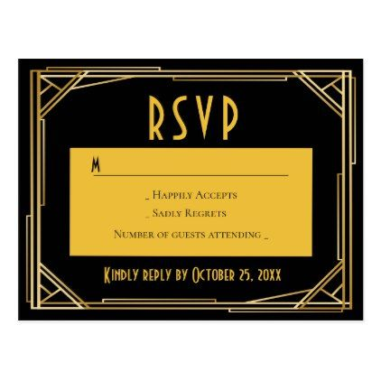 Art Deco Black Gold RSVP Great Gatsby Wedding Postcard - gold wedding gifts customize marriage diy unique golden