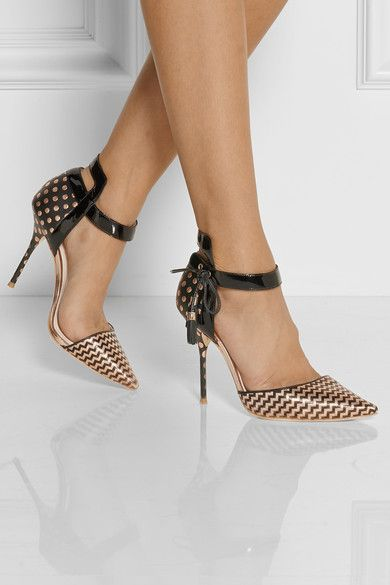 Bronze and black patent-leather and jacquard with a tie at the ankle makes this shoe so cute an elegant at once. The heel is (like most of Webster heels) too slim too walk comfortable in, but still nice to look at them. 2014; J.Crew; €805 @netaporter