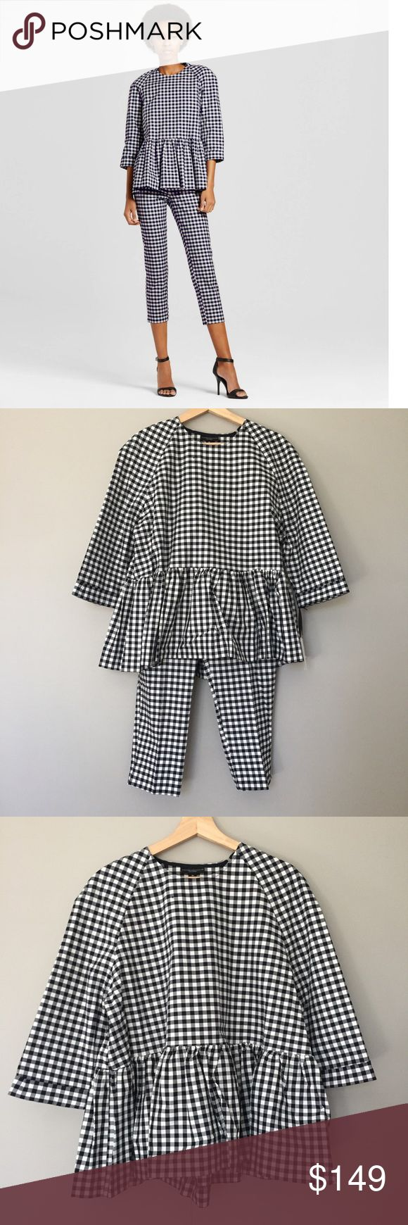 Victoria Beckham Target gingham peplum pant set SOLD OUT!  Brand new with tags. Women's Blue and White Gingham Twill Peplum Blouse and crop pants.  Top is XL and pants is 12.  Size 10 pants and other pieces also available. Victoria Beckham Pants Ankle & Cropped