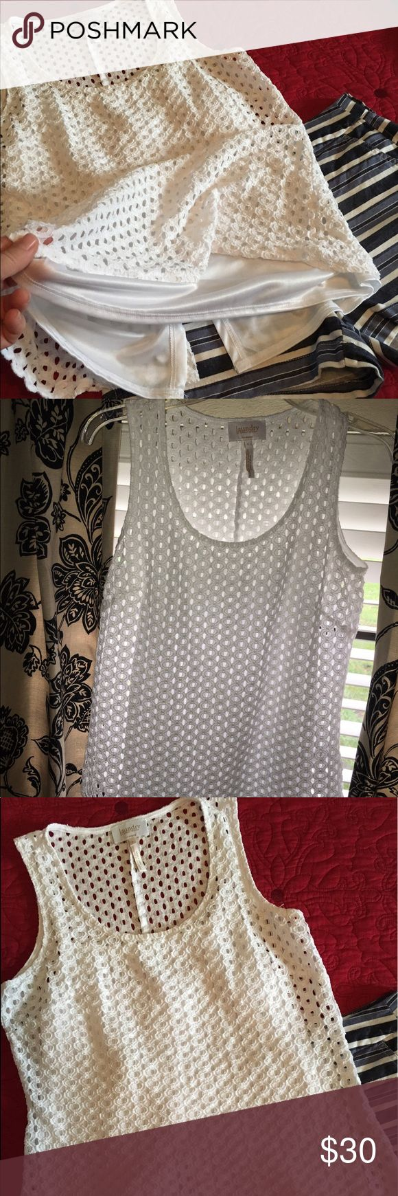 Lined White -Top Laundry by Shelli Segal Size Small    Very pretty Laundry White lace top by Shelli Segal with adjustable strap built in camisole.  Excellent condition.  ❌sorry no trades. Laundry by Shelli Segal Tops