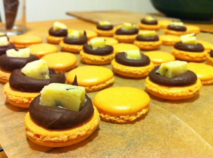 ginger chocolate and passion fruit macarons