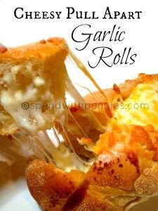 Love it? Pin it! (Just click the photo!) Follow Spend With Pennies on Pinterest for more great recipes! These are truly amazing… cheesy, garlicky and just plain ol' yummy! Choose your favorite cheese to stuff these rolls with (cheddar and mozza work...