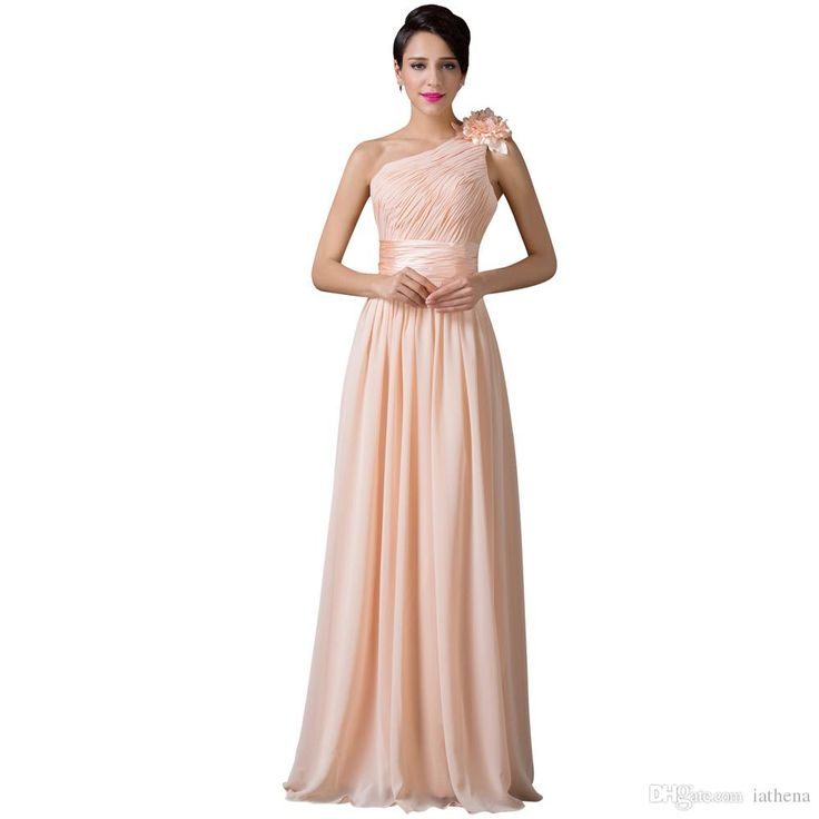 Long Chiffon One Shoulder Apricot Bridesmaid Dresses 2016 Elegant Wedding Under 100 Bruidsmeisjes Jurk