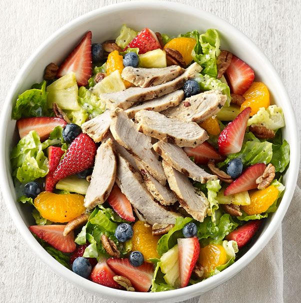 Strawberry Poppyseed & Chicken Salad  All-natural, antibiotic-free chicken, romaine lettuce, fresh strawberries, blueberries, pineapple and mandarin oranges and pecans with fat-free poppyseed dressing.- Visit PaneraBread.com for more inspiration.