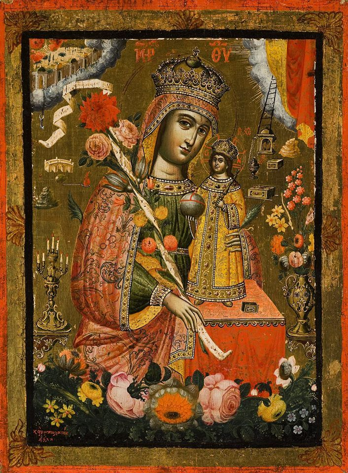 """Theotokos """"The Unwithering Rose"""" """"To Rodon to Amaranto"""", 1738 Constantinople"""