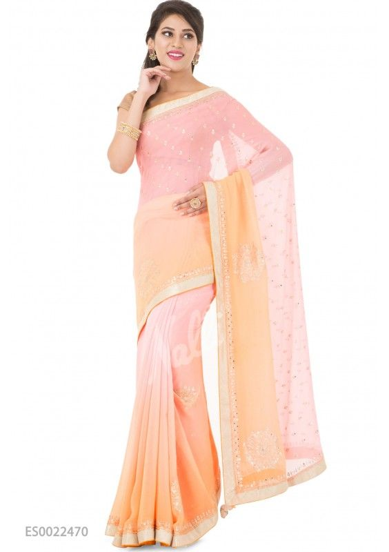 Pink and Peach Embroidered Chiffon Saree