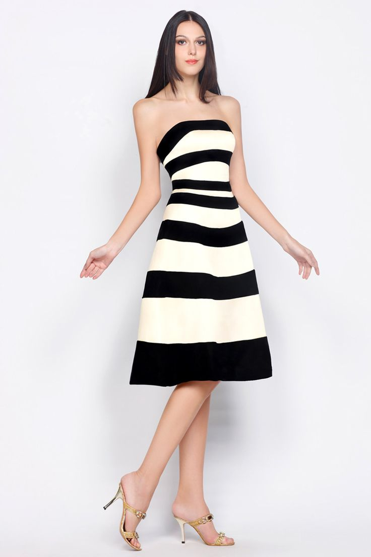 White dress cocktail - Strips Black And White Tea Length Satin Cocktail Dress