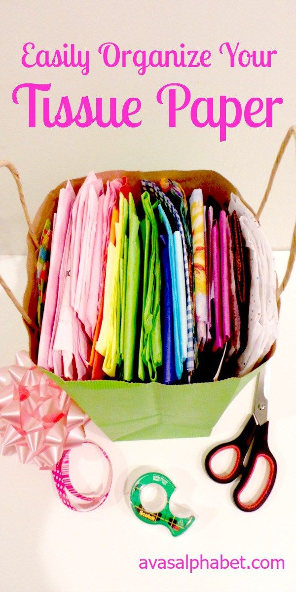 Easily Organize Your Tissue Paper!  Do you save and reuse tissue paper from gift wrapping?  Check out this simple storage solution that will get your tissue paper stash organized in no time!