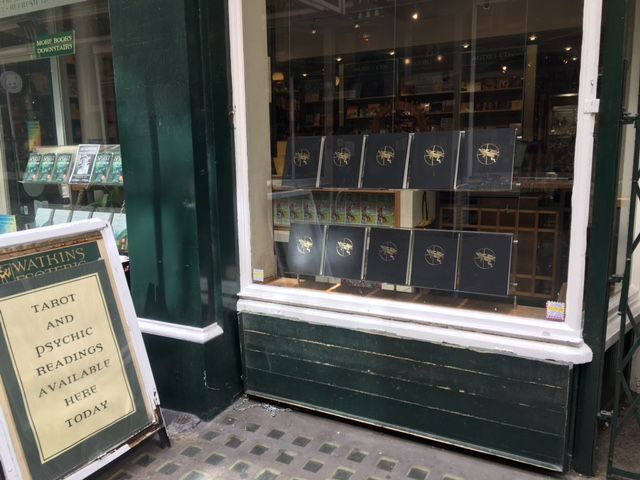 The Game of Saturn window display at Watkins Books Cecil Court London