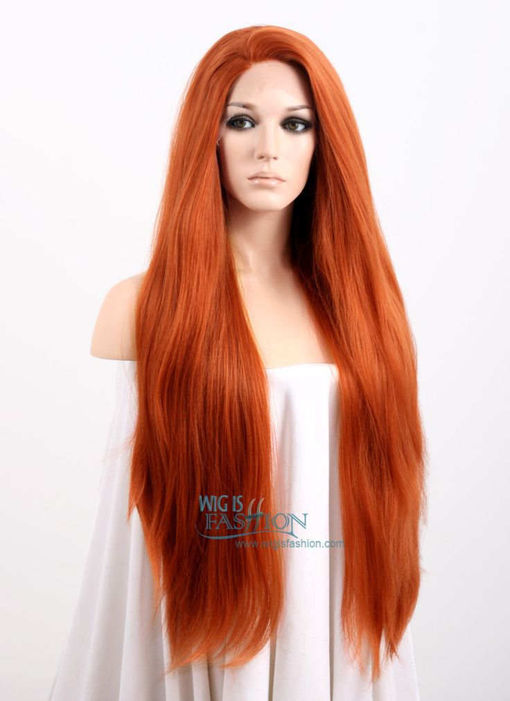 """28"""" Long Straight Yaki Reddish Orange Made-To-Order Lace Front Synthetic Hair…"""