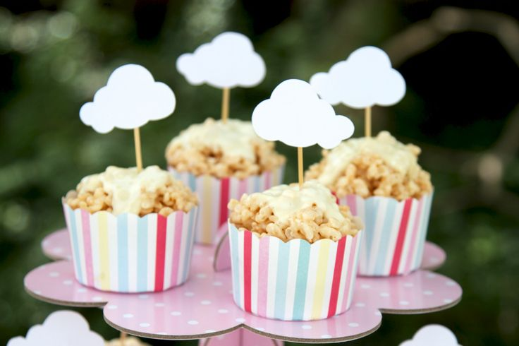 Rice bubble cupcakes finished with a cloud on top! Almost too delicious to eat!