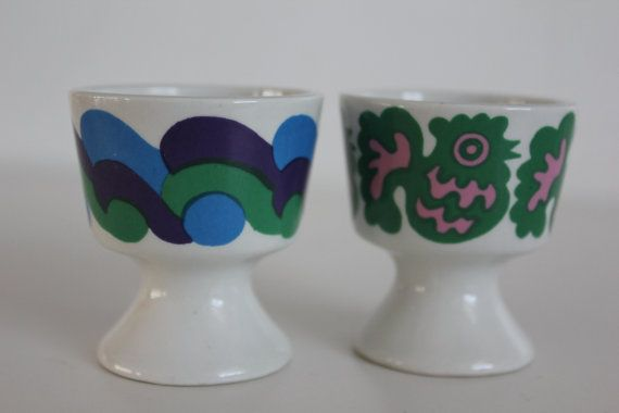 Pair of fun retro egg cups by Arabia Finland by FinnishTreasures, $68.00