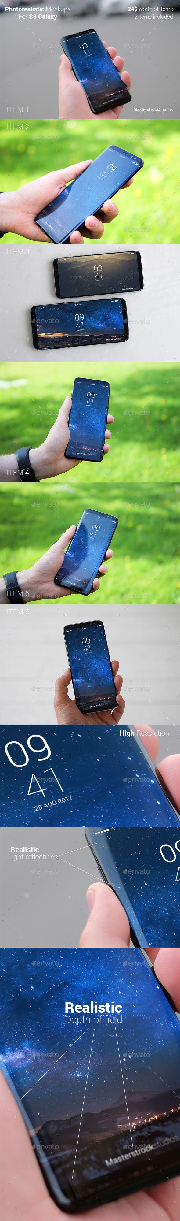 Bundle - 6 Photorealistic S8 Phone Mockups - Mobile Displays