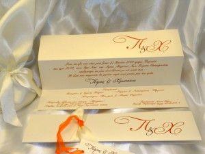 Προσκλητήριο Γάμου Τρίπτυχο σε πορτοκαλί αποχρώσεις.  Η διάσταση του προσκλητηρίου είναι 29x7cm κλειστό, το χαρτί είναι μεταλιζέ με δύο αποχρώσεις κορδέλας.  Δεν έχει φάκελο. Υπάρχει δυνατότητα επιλογής στα χρώματα των γραφικών και της κορδέλας.  Επίσης μπορείτε να βρείτε Βιβλίο Ευχών, Σουπλά, Ευχαριστήρια καρτελάκια, Μπομπονιέρες κλπ στο ίδιο ύφος. http://e-prosklitirio.gr/proionta/gamos/prosklitiria-gamou/