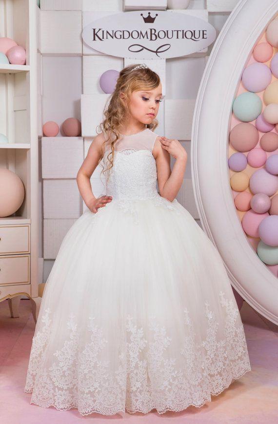 Vestido de niña flor marfil boda cumpleaños por Butterflydressua