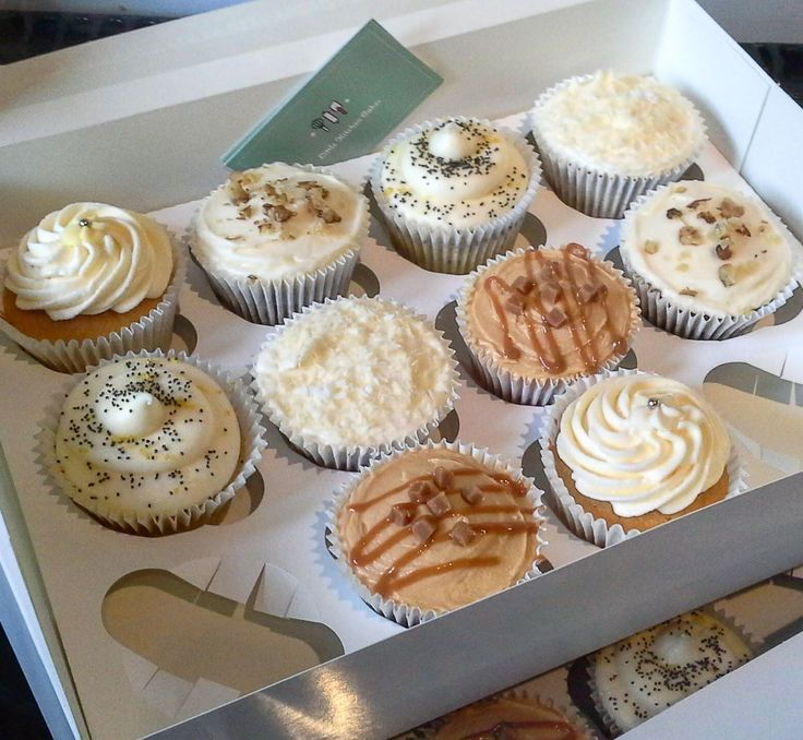 Variety box of cupcakes. Vanilla, red velvet, lemon & poopy seed, carrot cake and toffee apple flavoured.