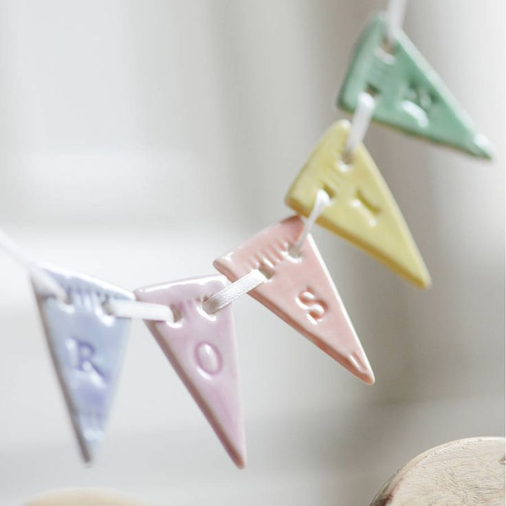 Personalised porcelain bunting in candy colours