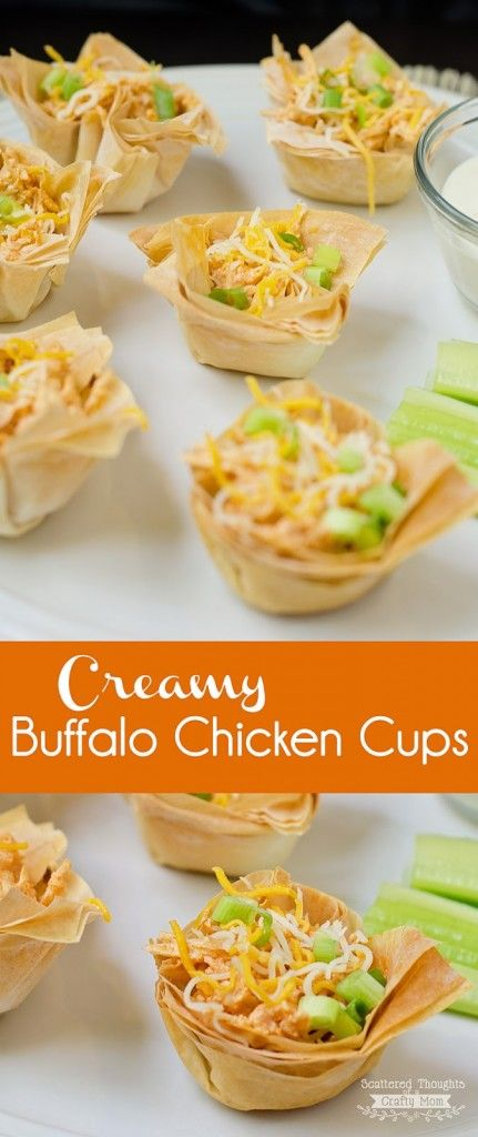 Creamy Buffalo Chicken Cups recipe. Perfect for parties or anyone who is a fan of bite-size/finger foods!