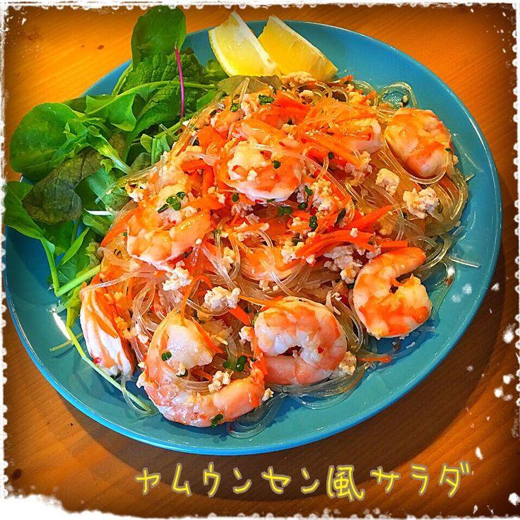 Tomoko Ito's dish photo カタツムリちゃんの ヤムウンセン風サラダ | http://snapdish.co #SnapDish #レシピ #野菜料理 #おつまみ #簡単料理 #美容/ダイエット #サラダ