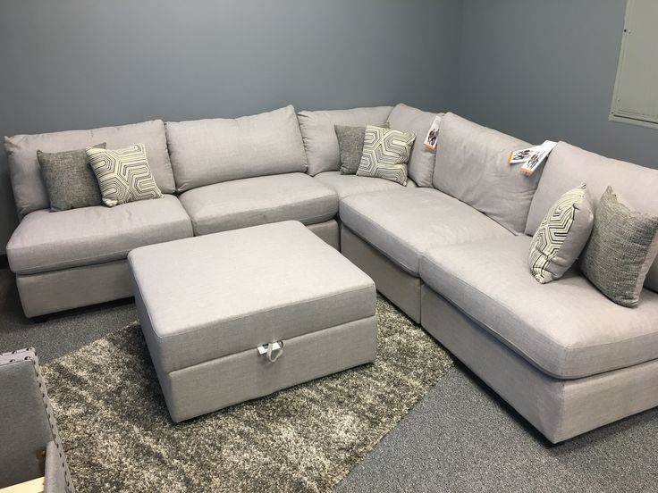 Scott Living modular sectional on display and on sale at Sweet Dreams Mattress & Furniture Lake Norman NC.  Add as many seats as your family needs.  Wrap the room or keep it small, lots of function and comfort with this sectional. The storage ottoman completes it!  Give it a sit at 638 River Hwy Mooresville, NC 28117