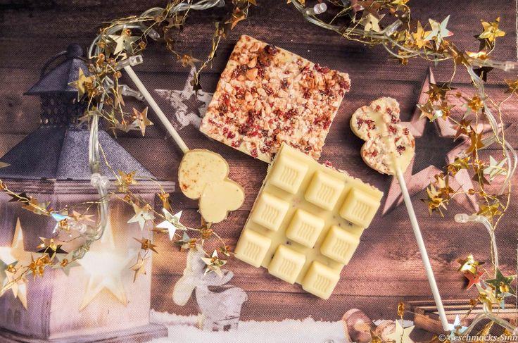 Weiße Schokolade mit Lebkuchengewürz, Erdnüssen und  Cranberrys