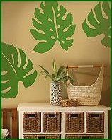 Philodendron Leaves Wallies Peel & Stick Vinyl Wall Mural-rainforest jungle theme bedrooms