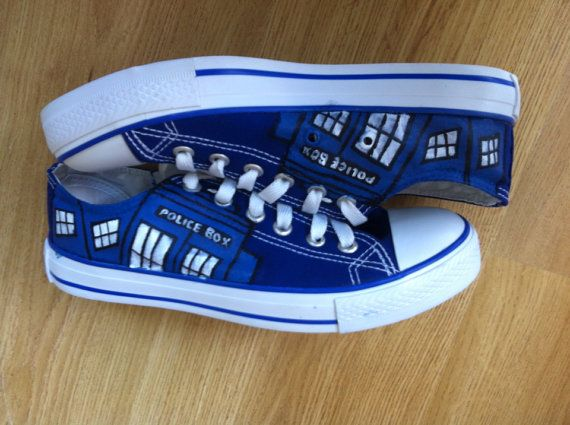 Doctor Who Custom Converse Painted Shoes / Tardis Shoes - Unique Birthday Gift or Christmas Gift, Doctor Who Shoes for Fandoms / Shoes for Whovian Time Lords