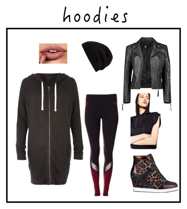 """Athletic wear, workout wear, street wear, workout pants, stinavilla, wardrobe consultant, personal stylist  """"Sporty"""" by cricri123 on Polyvore featuring Express, River Island, Jimmy Choo, Rick Owens, Boohoo, Leather and Hoodies"""