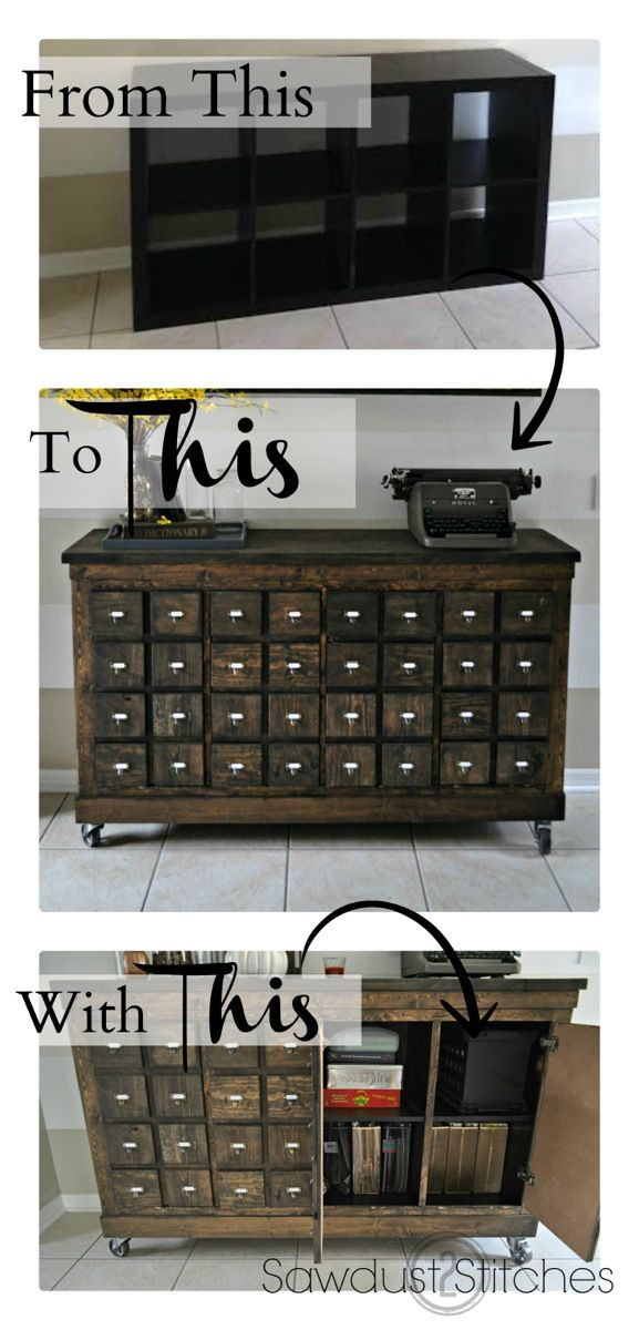 This is an was Expedit Shelf that was transformed into a card catalog / apothecary cabinet! Apply wood strips over the laminate to transform the Expedit.