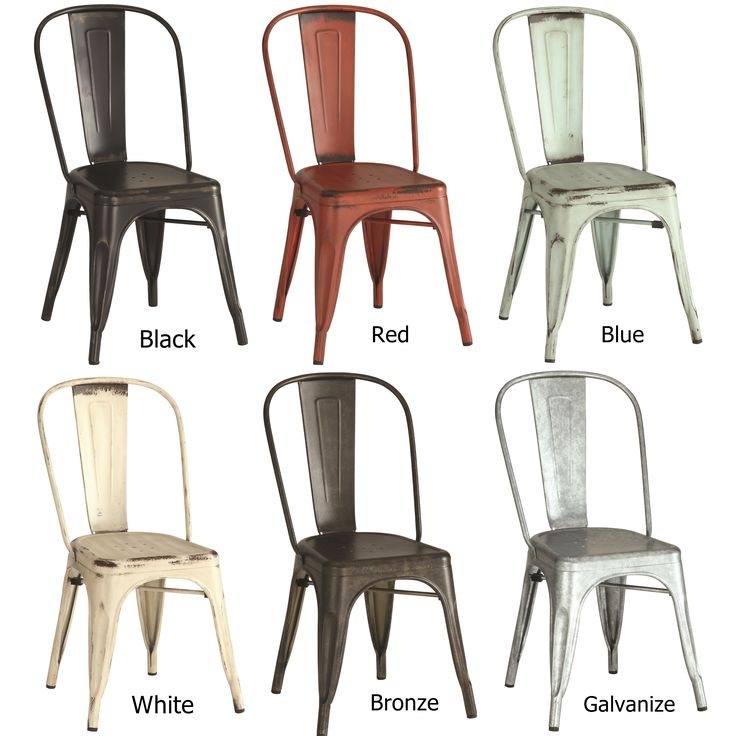 Bring a rustic industrial look into your home with these vintage metal chairs Available in six colors; Black, Red, Light Blue, Cream White, Bronze, and Galvanized. These chairs have an industrial feel but are simple enough to blend into any environment