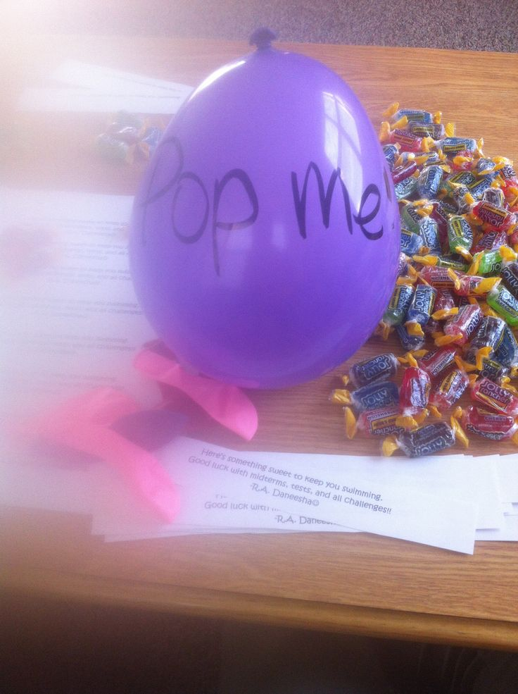 Passive Program for residents. Pop balloon to get jolly ranchers and note of encouragement! Great for midterms or finals.