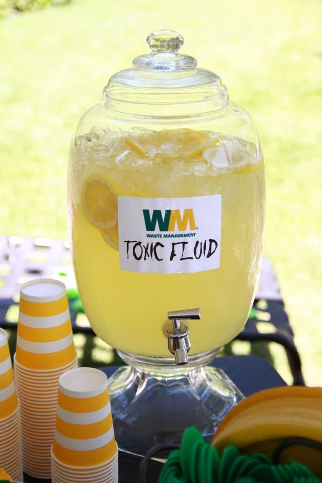 Toxic Fluid aka parents can cope with another birthday juice. Lol - Trash truck - boy birthday party - Waste Management - Garbage Truck Party - www.byHISgracephotography.com by jen badraun