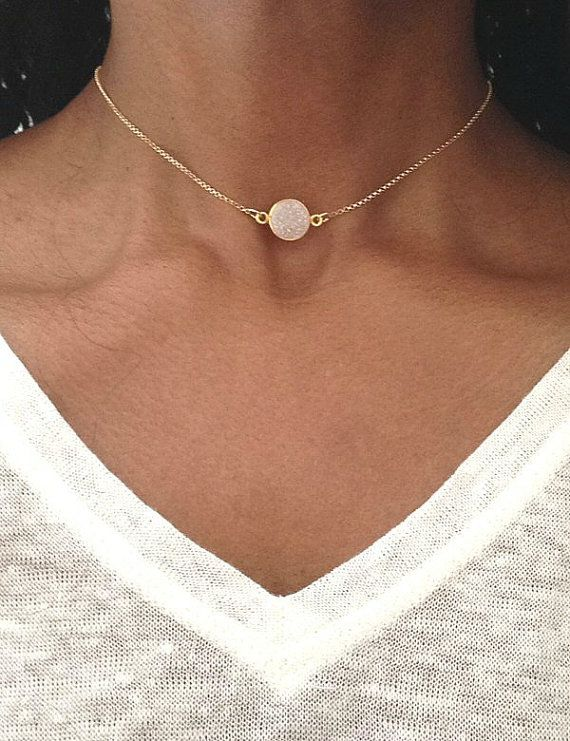 So delicate and pretty! Gold Choker Necklace Gold Druzy Necklace Gold by PABJewellery from Etsy.