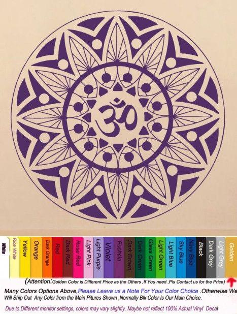 Yoga Vinyl Wall Decal Mandala Indian Yoga Oum Om Sign Yoga Studio Mural Wall Sticker Beauty Salon Buddha Bedroom Home Decoration $27.88