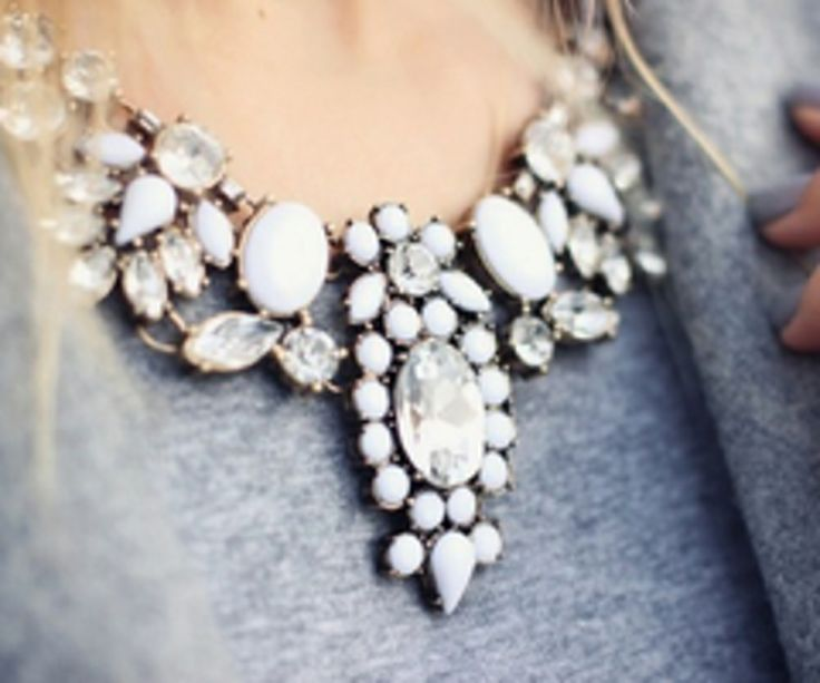 White Statement Necklace on grey #classic