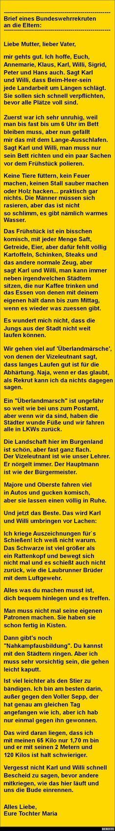 Brief eines Bundeswehrrekruten an die Eltern.. | DEBESTE.de, Lustige Bilder, Spr… – Nessi 98