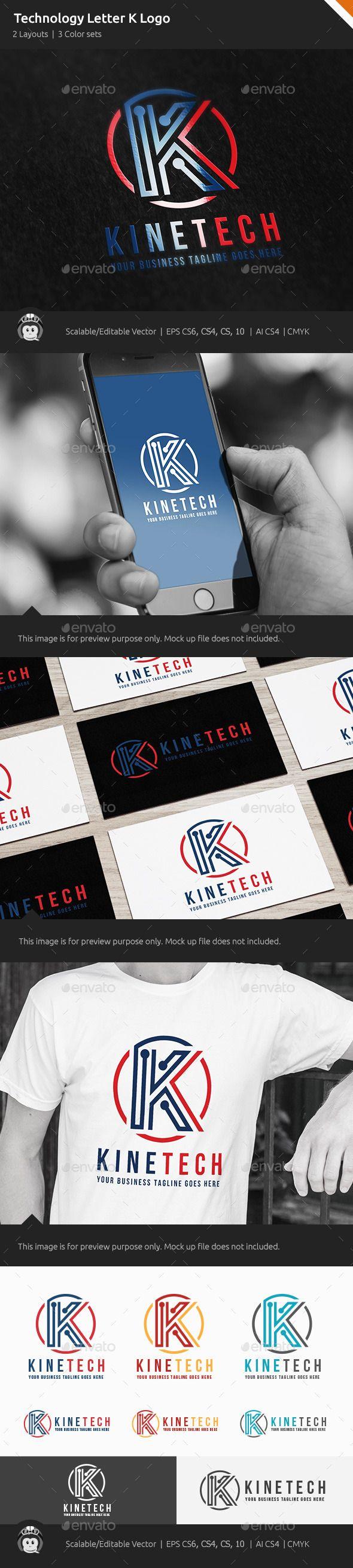 Kinetic Technology Letter K Logo - Letters Logo Templates
