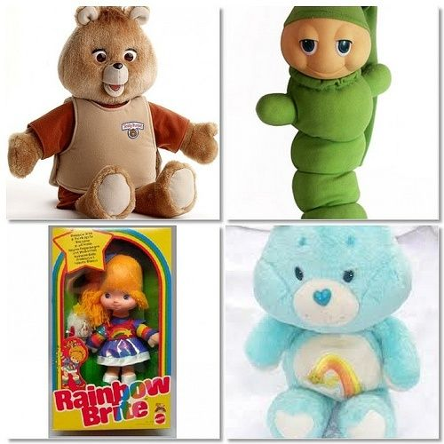 Popular toys from the 80. I had this glow worm! Also this care bear- until my siblings hid it in a time capsul!!!