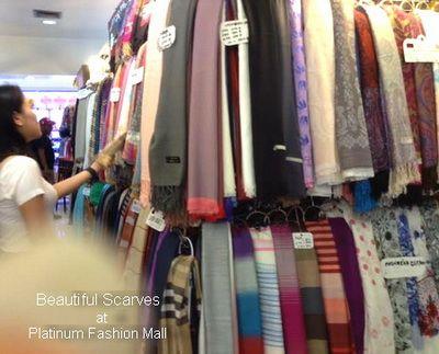 scarves, or scarf and shawl sell at platinum mall bangkok