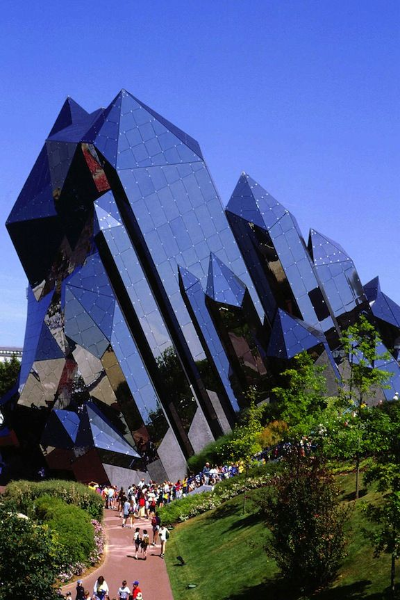 Above is the most literal, architectural interpretation of crystals that I could find. It's a theater, the Kinémax, at an amusement park in France that revolves around the future. The park, Futuroscope, opened nearly 25 years ago and the Kinémax has been an emblem of the park ever since.