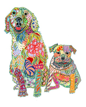 Emma and Truman: Arty Animals, Colored Pencil, Animal Art, Artsy, Art Architecture, Colorful Pet, Art Darling, Artfest Worthy, Art Projects 5Th