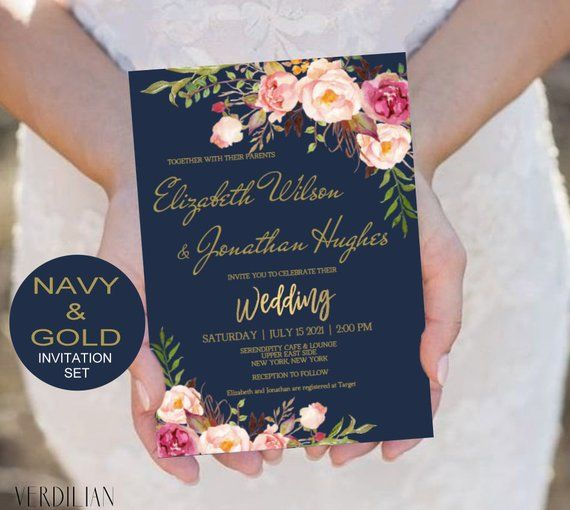 Blush Navy Gold Wedding Invitation Template Set Pink Flowers