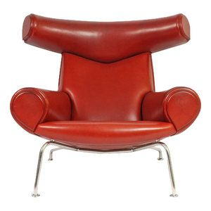 Hans J. Wegner Ox chair in Indian red leather. Produced by Erik Jørgensen