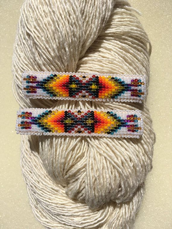Native American Beaded Barrettes With Images Native American Beading Beaded Bead Loom Patterns