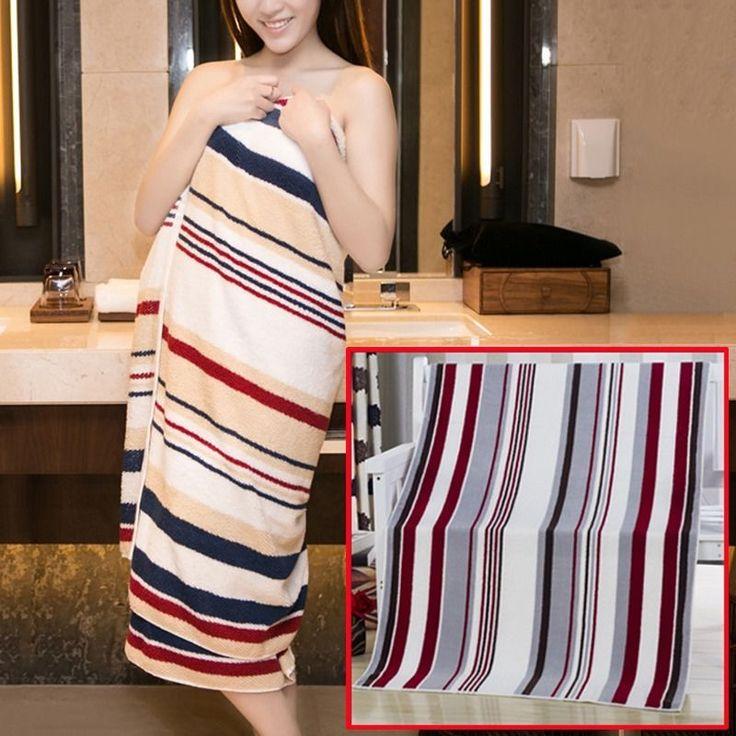 Pop Bath Towel Striped Tropical Style Absorbent Washcloth Bathroom Utility Towel